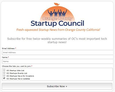 OC startups news email newsletters free signup